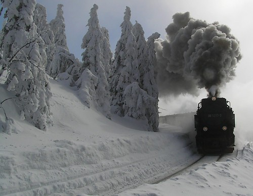 Brocken train in snow; unknown photographer.